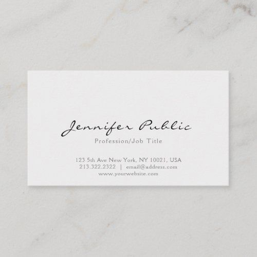 Professional Modern Elegant White Simple Plain Business Card Zazzle Com In 2020 Cute Business Cards Modern Business Cards Printing Business Cards