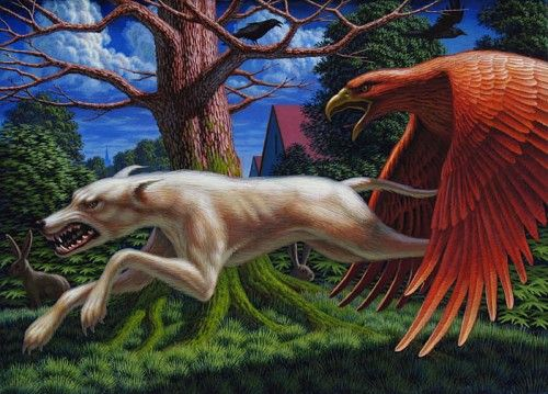 """In Pursuit"", Leonard Koscianski, 2012, tempera on panel, 5"" x 7"".:"
