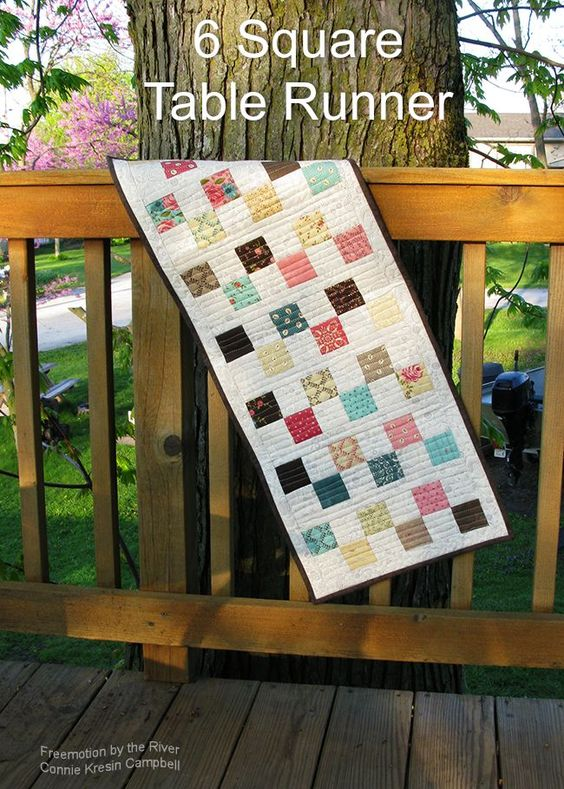Free Tutorial for a 6 Square Table Runner at Freemotion by the River