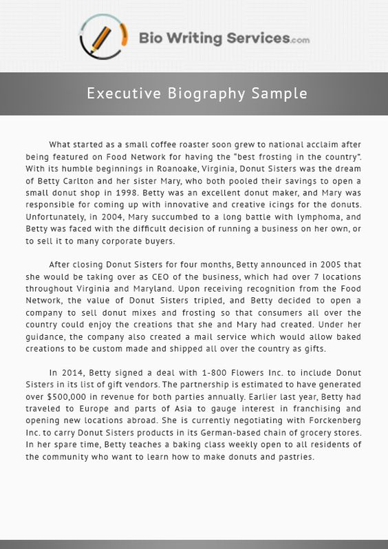 If you want to write a biography, this executive bio sample will - sample executive agreement