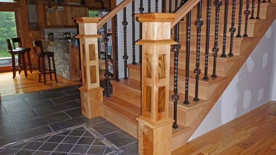 These stair newel posts were built for our customer in Vermont. Made from genuine yellow birch with black walnut inlays. This was a very challenging project and gratifying at the same time. The finish is hand rubbed to bring out the beauty of the two wood species. See us at Rhodymade on Etsy.