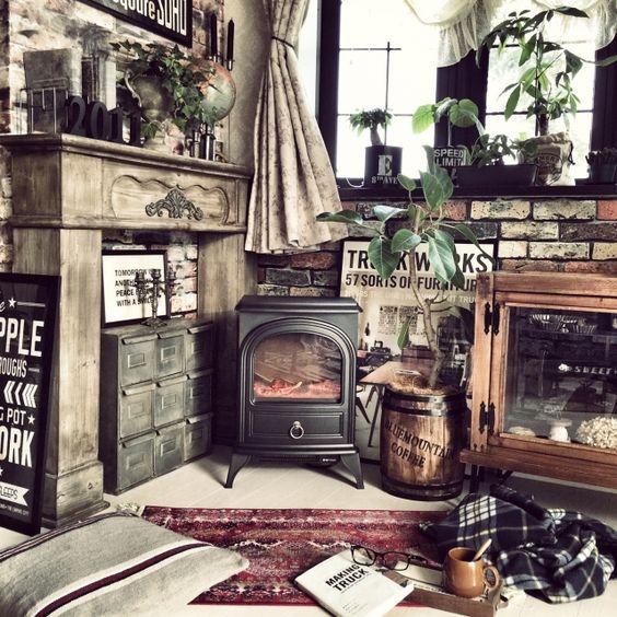 北欧風インテリア暖炉