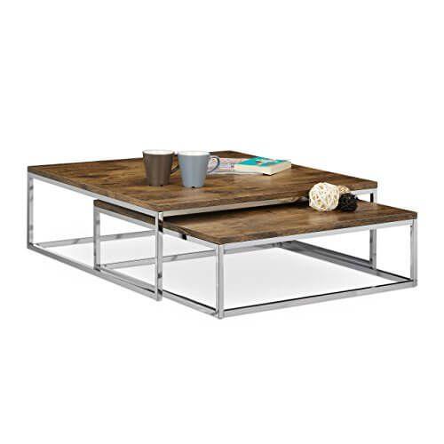 Relaxdays Couchtisch Holz FLAT 2er Set natur Chrom-Metall - wohnzimmertisch aus holz