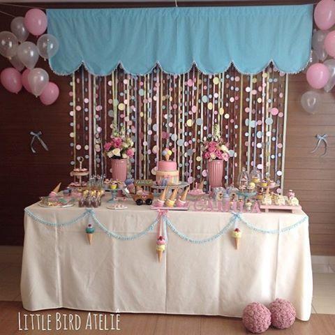 Adorei essa festa com tema Sorvete, painel muito lindo! Por @littlebirdatelie  #kikidsparty