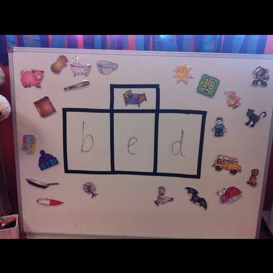 Old whiteboard, electrical tape, pictures and markers! Cvc word practice!