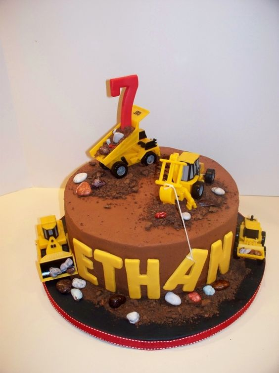 Russ looked at some pictures and decided he really like the construction theme, this is a fun cake!: