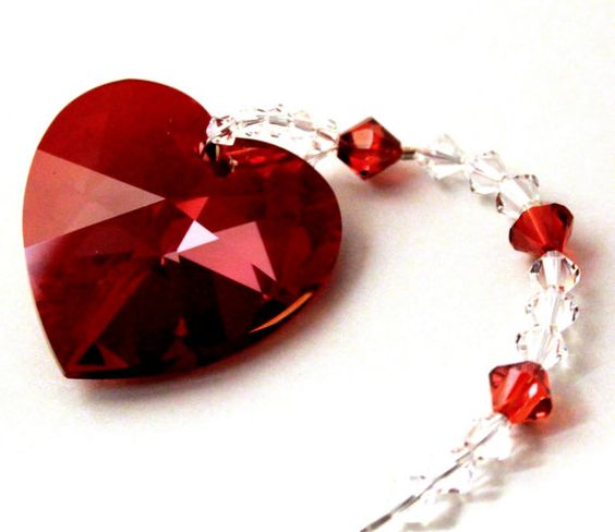 Stunning 40mm Swarovski Crystal Red Magma Heart by pearlplaceNmore, $23.00