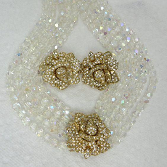 KJL Kenneth J Lane Crystal Rhinestone Necklace by LadyandLibrarian, $174.00