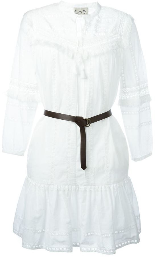 Sea embroidered belted dress