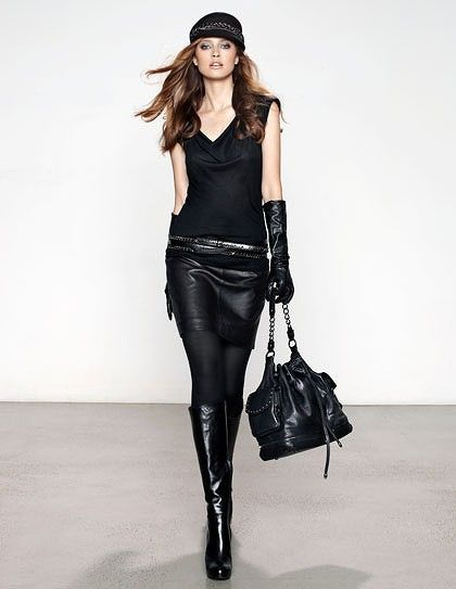 Leather boots with leather skirt. Uber sexy! | Fabulous Fashion
