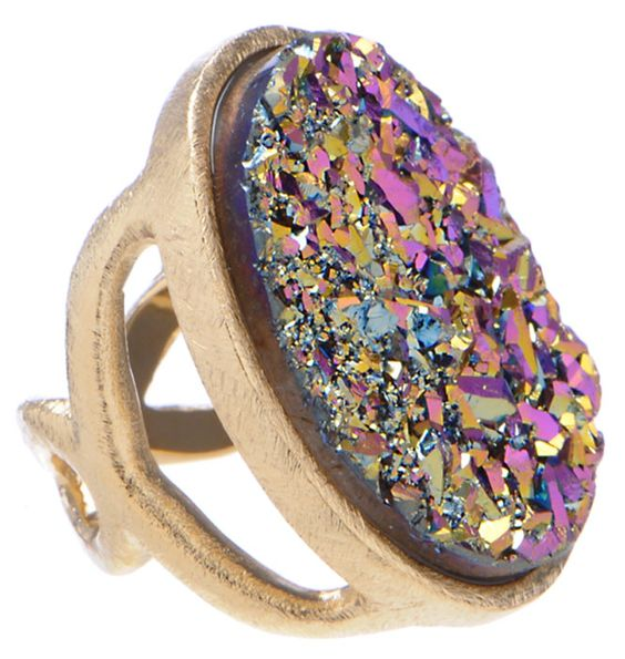 Marcia Moran gold plated pink multi druzy large oval ring