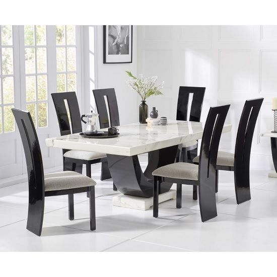 Allie Marble Dining Table In White Black With 6 Ophelia Chairs In