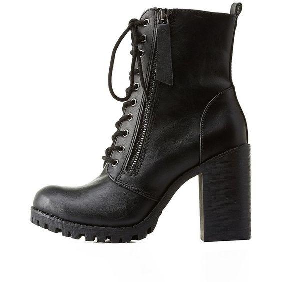 Soda Zipper-Trim Chunky Heel Combat Boots ($18) ❤ liked on ...