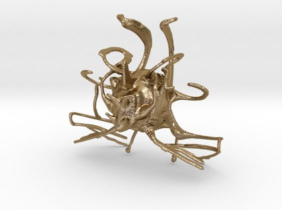 Chaos Bug 3d printed Art Sculptures Polished Gold Steel