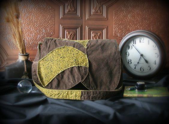 Sac messager bohème - Sac à bandoulière - Sac à main brun et vert de la boutique Mafelou sur Etsy