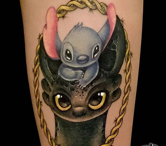 Stiched Leg Tattoo: Naw Toothless And Stitch