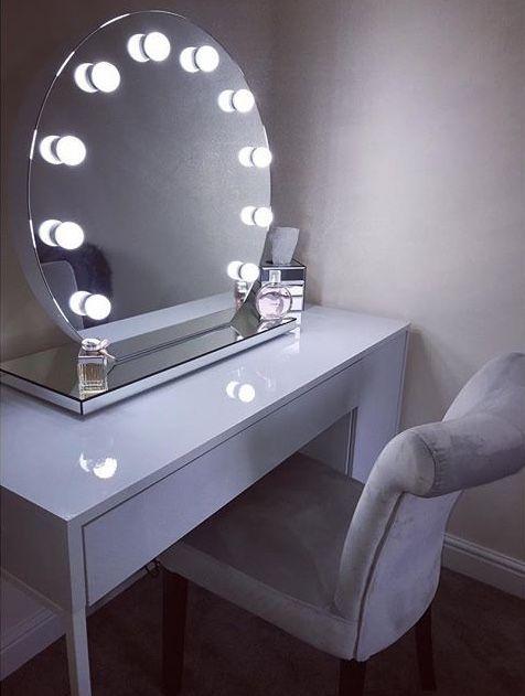 Lighting Table Mirror Halle Round Freestanding Hollywood Mirror