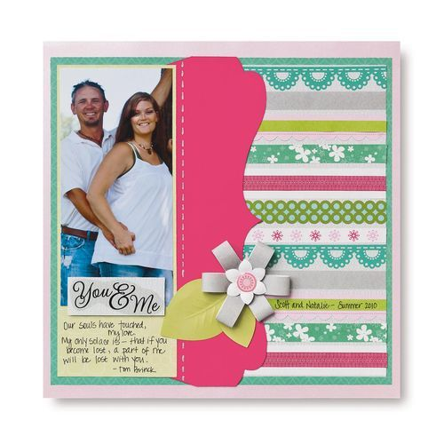 You and Me Layout Hi-lighting Paper Ribbon Scrapbook Page Idea  #scrapbooking