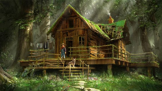 forest hut, Quentin Mabille on ArtStation at https://www.artstation.com/artwork/wvbD9