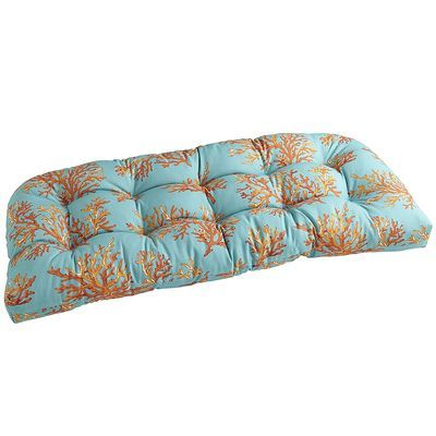 pier one coral bench cushion coral patio gray orange. Black Bedroom Furniture Sets. Home Design Ideas