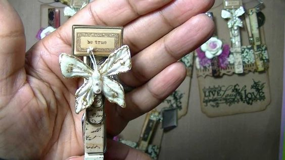 Altered Bottlecaps and clothespins,