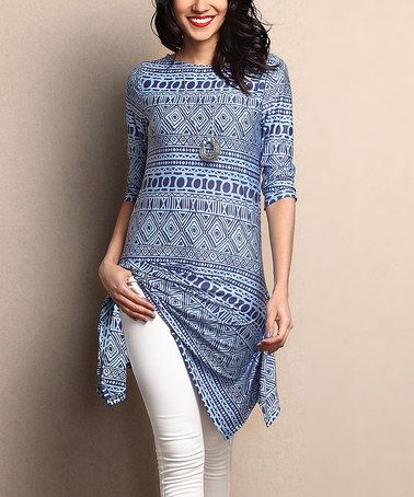Another great find on #zulily! Blue Geo Sidetail Tunic #zulilyfinds: