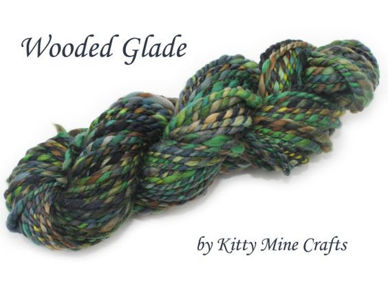 2 ply Australian Merino Wool Yarn - Heavy Worsted Yarn- 50yds/ 46m - Wooded Glade - Blue, Green, Gold, Brown