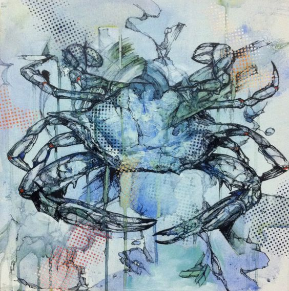 This crab changed a bit with some new dotted stencil applications. I like it as part of the series!: