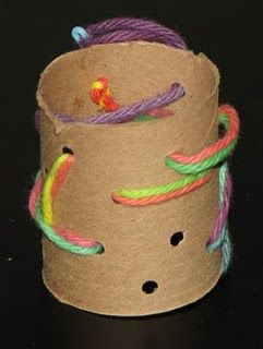 Sewing on paper towel tubes.-Repinned by Totetude.com