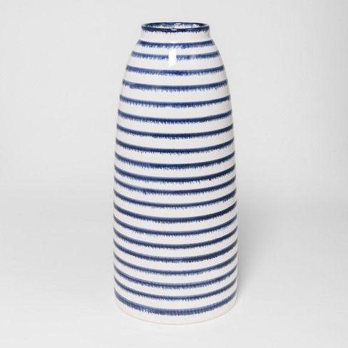 Ceramic Stripe Vase Large Blue White Threshold Target Striped Vase Large Vase Target Home Decor