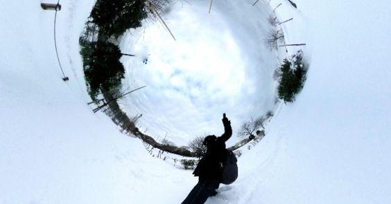 Snow to knee. 2Tokyo,2014[LINK] Spherical Image | RICHO THETA.