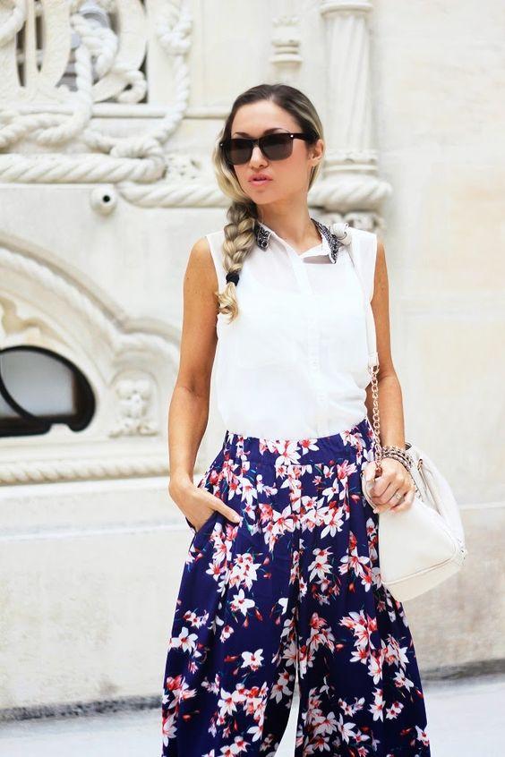 look do dia, ootd, outfit, quinta da regaleira, sintra, padrão floral, tendências, primavera verão 2014, casual look, pantalonas, promod, di...