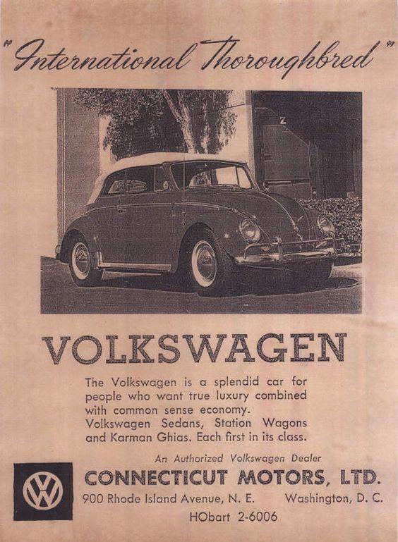Connecticut Motors Washington Dc Dealer Ad Vw Beetle Convertible Volkswagen Ads