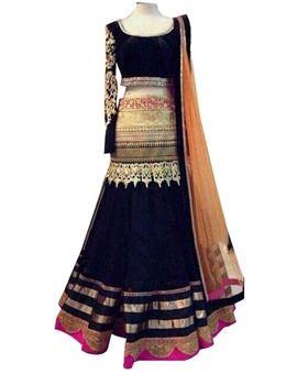 Designer Black Georgette Embroidered  Lehenga Lholi