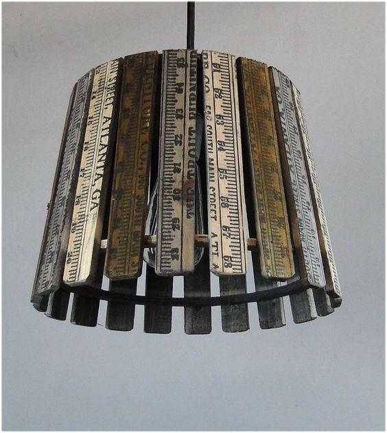Vintage Wooden Ruler from Atlanta GA Converted Into Pendant Light Fixtures New   eBay