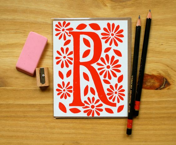Single Hand Block Printed Monogram Card and by ShopKatharineWatson, $5.00 -> would also be nice as an entry in art journal