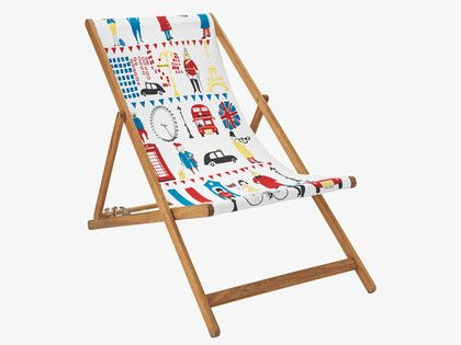 Habitat deck chair sling with iconic imagery of London and Paris