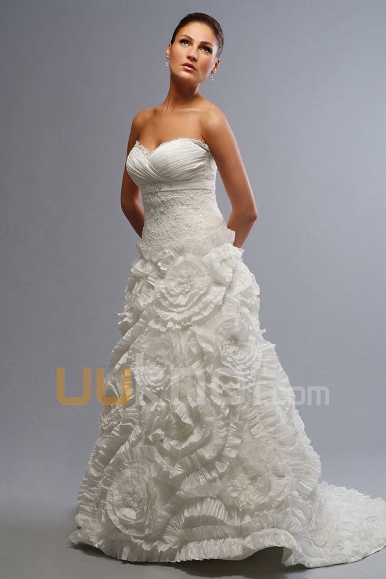 A-line Strapless Sweetheart Chapel Train Taffeta Wedding Dress For ...