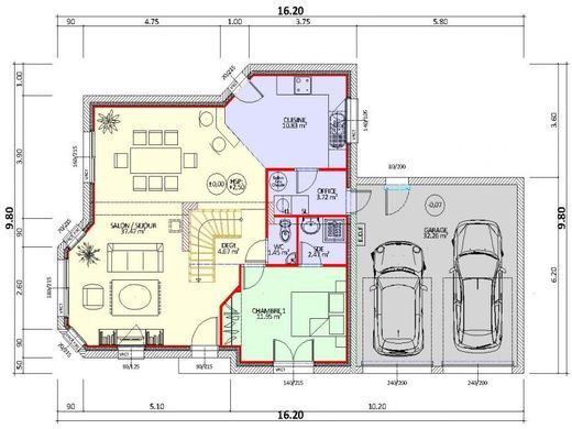 plan maison rdc 1 chambre double garage