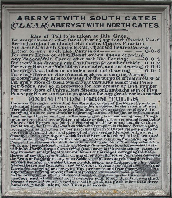 Aberystwyth South Gates rate of tolls notice #wales #toll #tax #sign #history