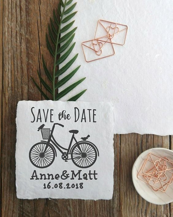 Bycicle Save the Date Custom Wedding Stamp, Modern Wedding Personalizable Save the Date, DIY Wedding Cards Stamp  -2137280318-