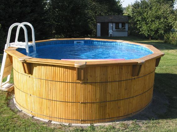 Aqua bois wood above ground pools brochure amazone for Above ground pool siding ideas