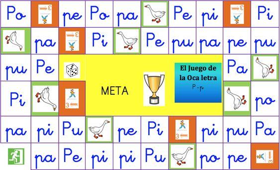 Juegos de la oca para aprender a leer editables presentamos el juego de la oca de la letra p mayúscula y minúscula: