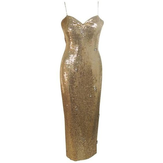 Preowned Custom Couture Gold Sequin Gown With Rhinestone Applique &... ($2,895) ❤ liked on Polyvore featuring dresses, gowns, multiple, couture evening gowns, vintage ball gowns, sequin evening gowns, gold evening gowns and vintage dresses