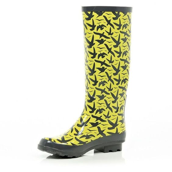 River Island Yellow Bird Print Wellies ($19) ❤ liked on Polyvore