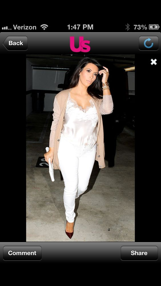 I'm not usually a fan of Kim's style but this look is refreshingly casual with a touch of glam