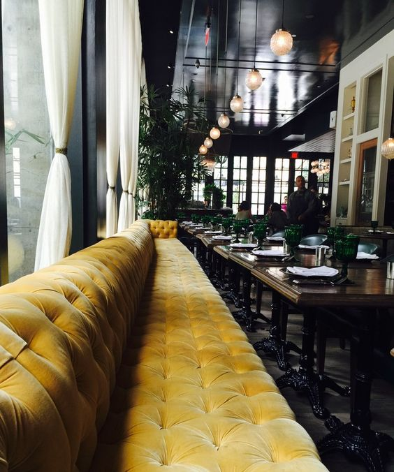 "Banquette @ Los Angeles' ""Faith & Flower"" restaurant, designed by Avroko. Yellow velvet"