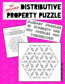 Distributive Property Puzzle - Math Game - Algebra Game
