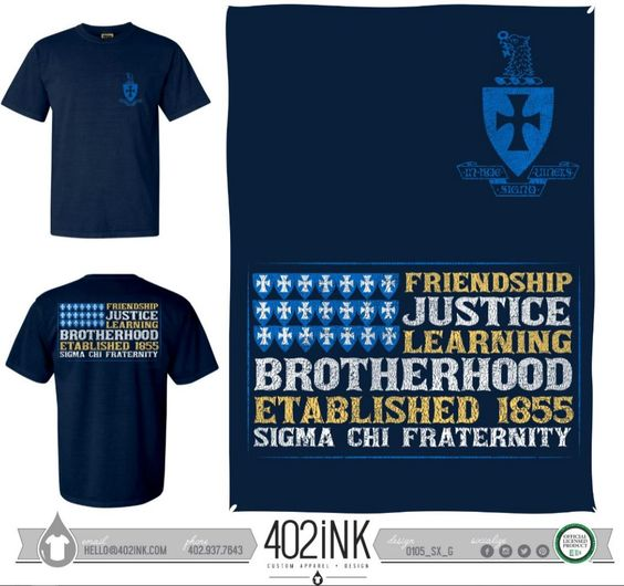 #402ink #402style 402ink, Custom Apparel, Greek T-shirts, Sorority T-shirts, Fraternity T-shirts, Greek Tanks, Custom Greek Apparel, Screen printed apparel, embroidered apparel, Fraternity, SX, Sigma Chi, General Design