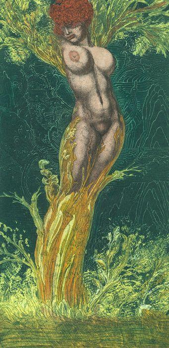 Daphne I, Radierung 1969 - Ernst Fuchs